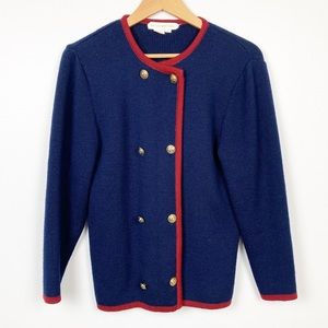 Brooks Brothers Wool Cardigan Sweater Blue & Red